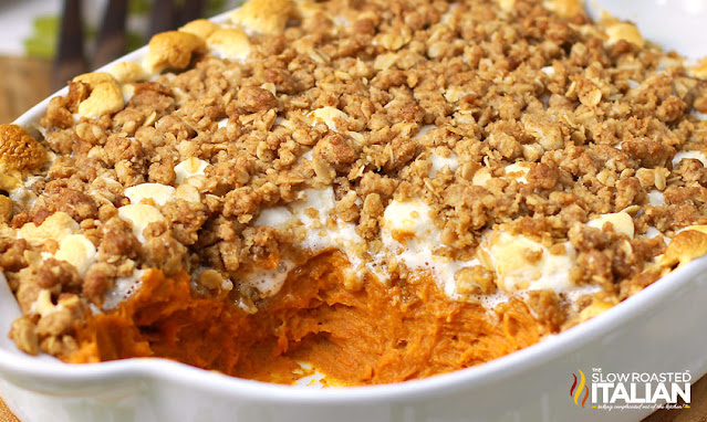 sweet potato casserole with a scoop taken out