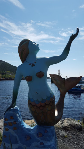 Mermaid statue, Witless Bay, Newfoundland. Right by O'Brien's, where we went whale watching