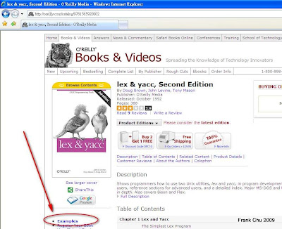 下載flex及yacc範例程式 http://oreilly.com/catalog/9781565920002