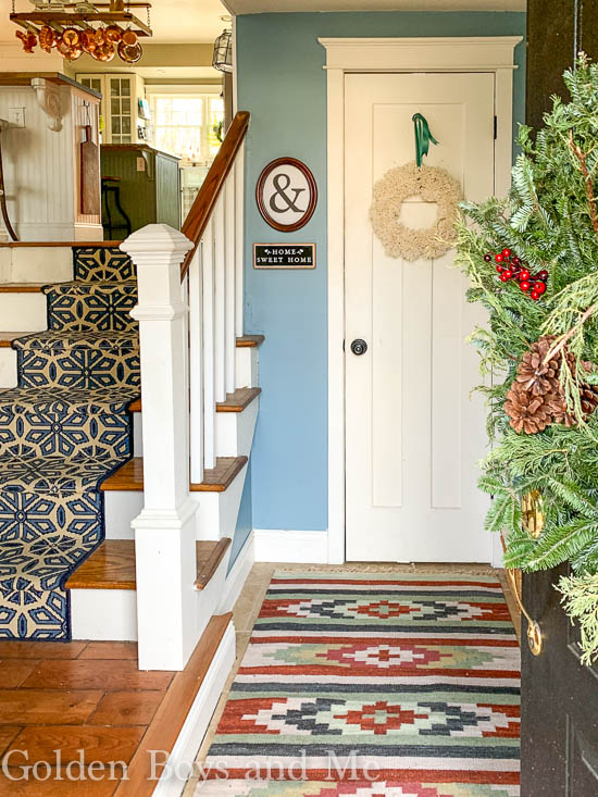 Entryway with Benjamin Moore Labrador Blue paint - www.goldenboysandme.com