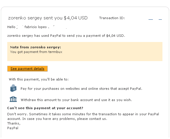 termbux proof of payment paypal