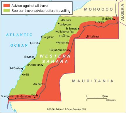 وزارة الخارجية البريطانية تنفي ادعاءات وكالة الانباء المغربية, وتحذر مواطنيها من السفر الى الاراضي المحتلة من الصحراء الغربية