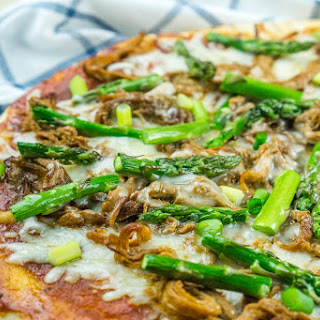 BBQ Pulled Pork Pizza with Asparagus.