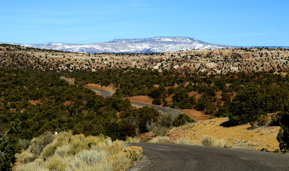 Burr Trail just west of Capitol Reef National Park with Boulder Mountain in the background