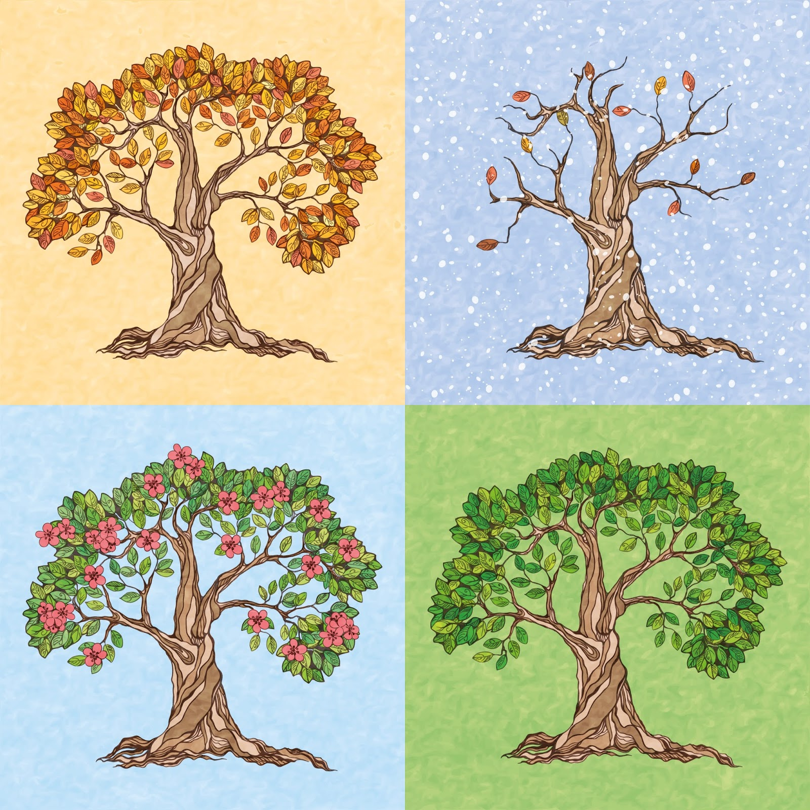 Seasons Summer Autumn Winter Spring Tree Free Download Vector CDR, AI, EPS and PNG Formats