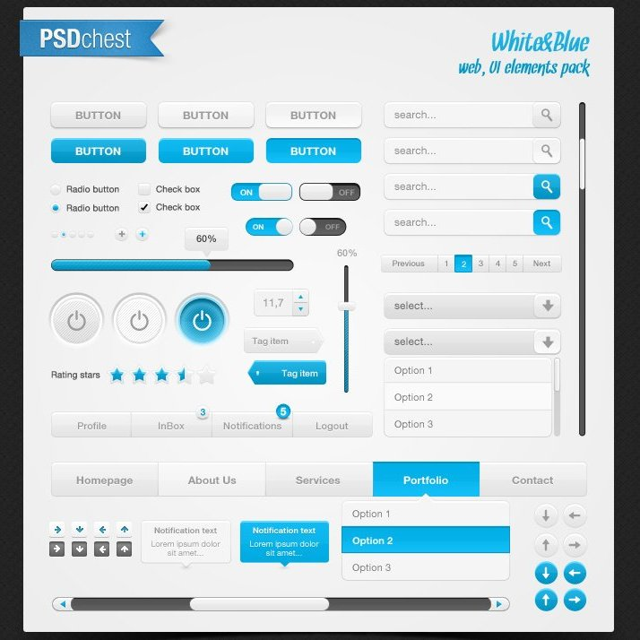 White blue web,ui elements pack 20 useful UI elements PSDs