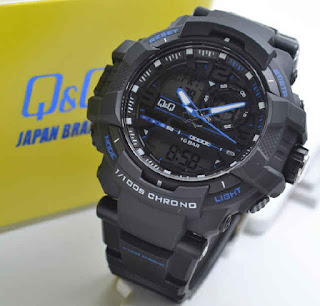 jam tangan Q&Q GW86J004Y double time black rubber Gold