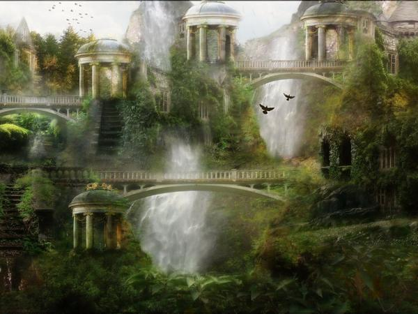 Waterfalls In The Air Castle, Magical Landscapes 2