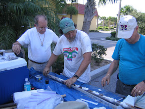 Photo: You can open the liners immediately and take samples for, again, a wide variety of analyses. Pollen, phytoliths, soil chemistry, isotopes, dating, etc. Bay Shore Homes site with Dr. John Foss (left)  geoarchaeologist and Dr. Bob Austin (center).