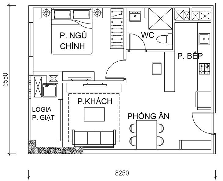 Thông số chi tiết căn hộ 1 phòng ngủ + 1 phòng đa năng DT: 52,28m²