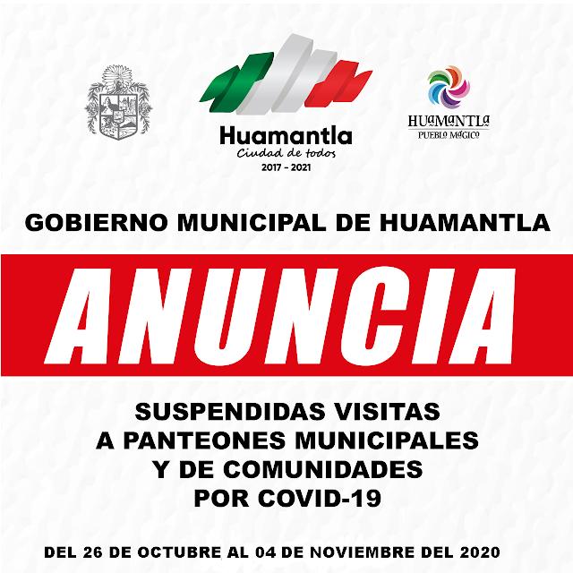Autoridades de Huamantla determinan cerrar panteones municipales y de comunidad como medida sanitaria por COVID-19.