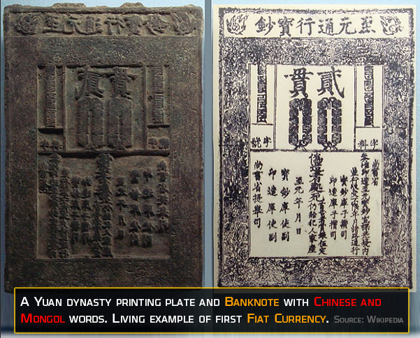 Yuan Dynasty Printing Plate and first banknote used in history