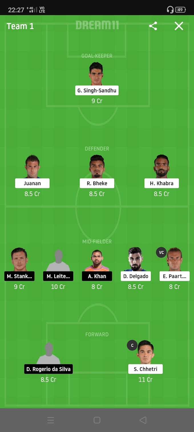 BFC VS HYD Dream11 Football Team and Grand League team and Playing 11