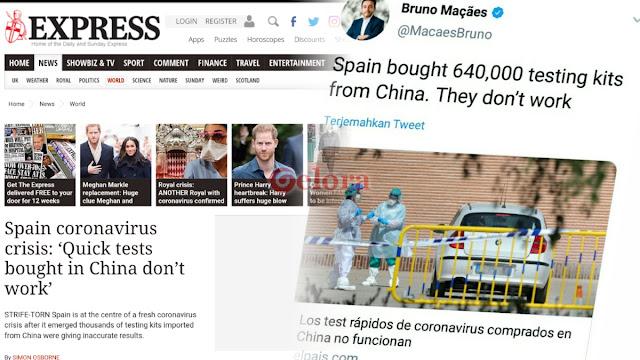 Alat Tes Cepat Corona yang Diborong Spanyol dari China Gagal Mendeteksi Kasus Positif