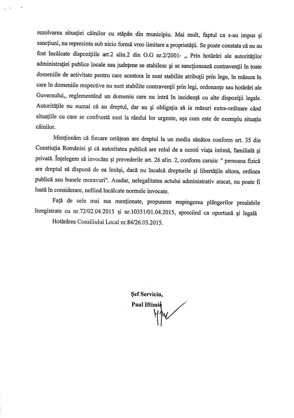Plângere Alina Gavriloaie, Alina Nicșan, Elena Bumbu împotriva Regulametnului privind întreținerea și circulația câinilor cu stăpân din municipiul Suceava