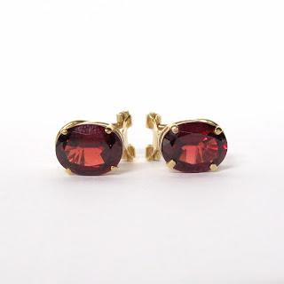 14K Gold & Red Stone Earrings