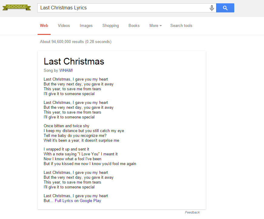 Google Websuche Songtexte