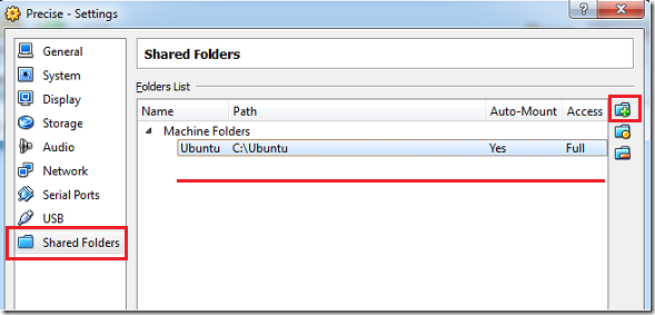 VirtualBox 虚拟机中的 Ubuntu 12.04 和 Windows 7 主机共享文件夹