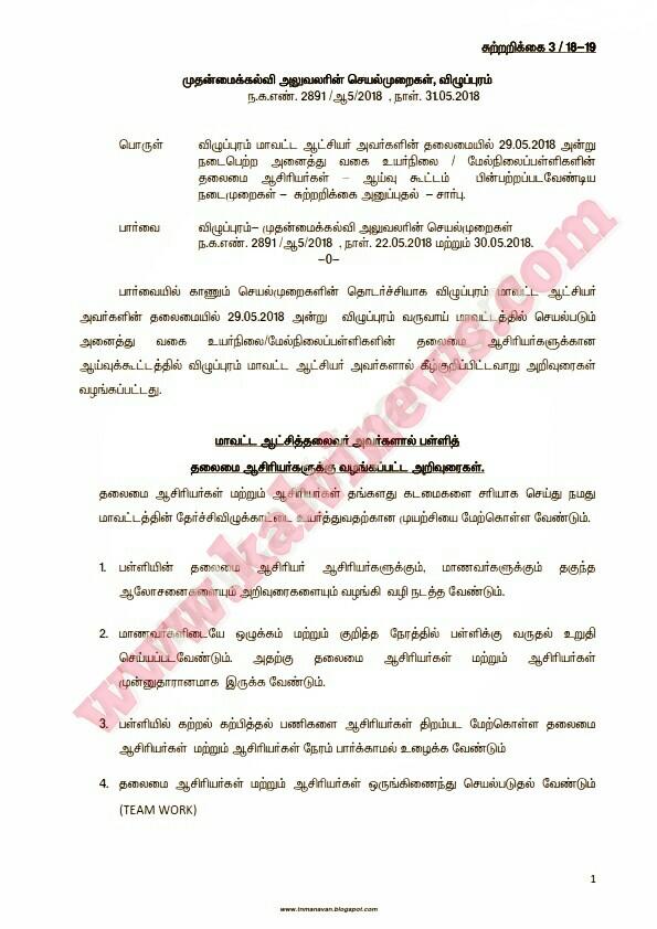 ஆசிரியர்கள் பின்பற்ற வேண்டியவைகள் - மாவட்ட ஆட்சியர் உத்தரவு - செயல்முறைகள் (31.05.2018
