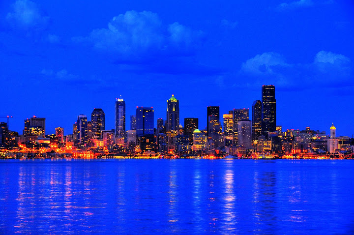Seattle in Blue, after-sunset view from Alki Beach