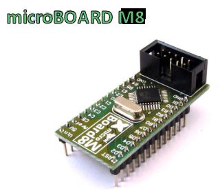 microBOARD M8 - Mikro moduł zawierający mikrokontroler ATmeag8.