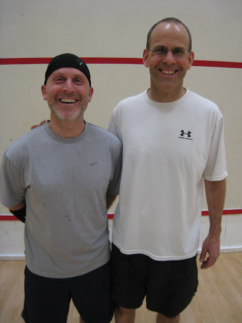 Rich Schafer and Doug Steinberg were all smiles as they managed to make it to both the Open 4.5 and Open 5.5 finals!