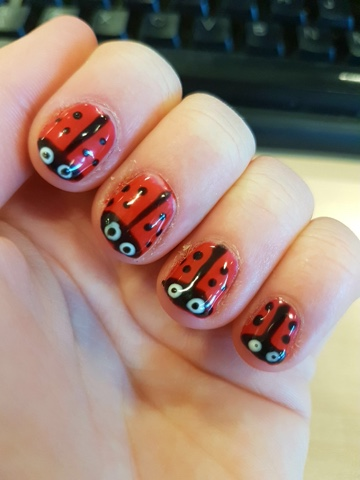 Lady Bird Nail Art Design Using Sensationail Nail Polish Kates