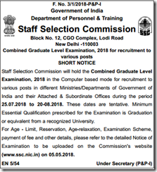 SSC CGL Exam 2018 Notification indgovtjobs