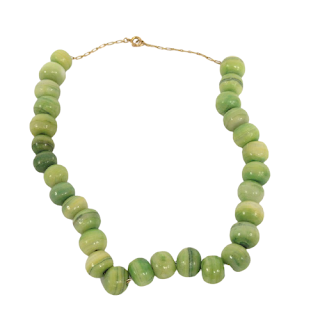14K Gold and Green Stone Necklace