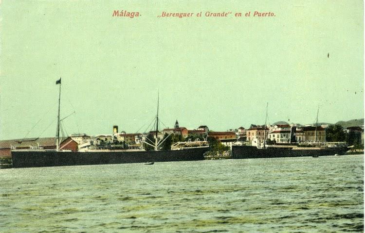 El BERENGUER EL GRANDE en Malaga en una postal desafortunadamente coloreada. Ca. 1900s. Postal.jpg