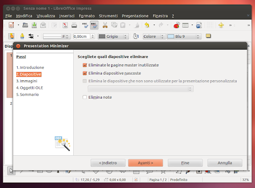 LibreOffice Presentation Minimizer in Ubuntu 12.10