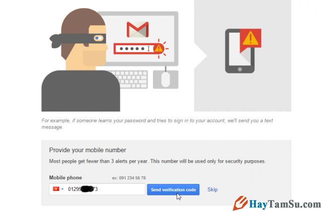 Điền số điện thoại xác thực Gmail