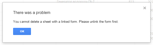 You cannot delete a sheet with a linked form. Please unlink the ...