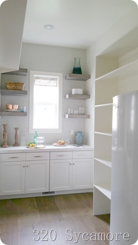 pantry with fridge