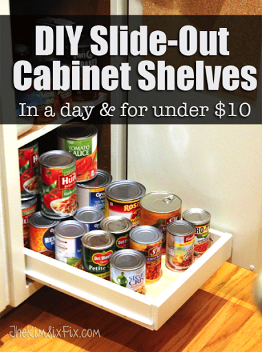 DIY Slide Out Cabinet Shelves