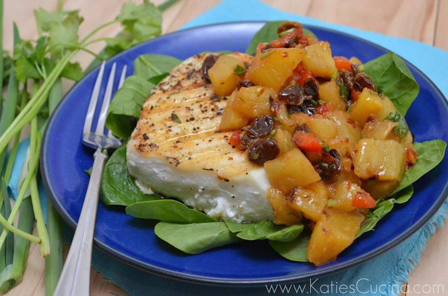 Alaska Halibut with Pineapple, Chipotle & Raisin Salsa
