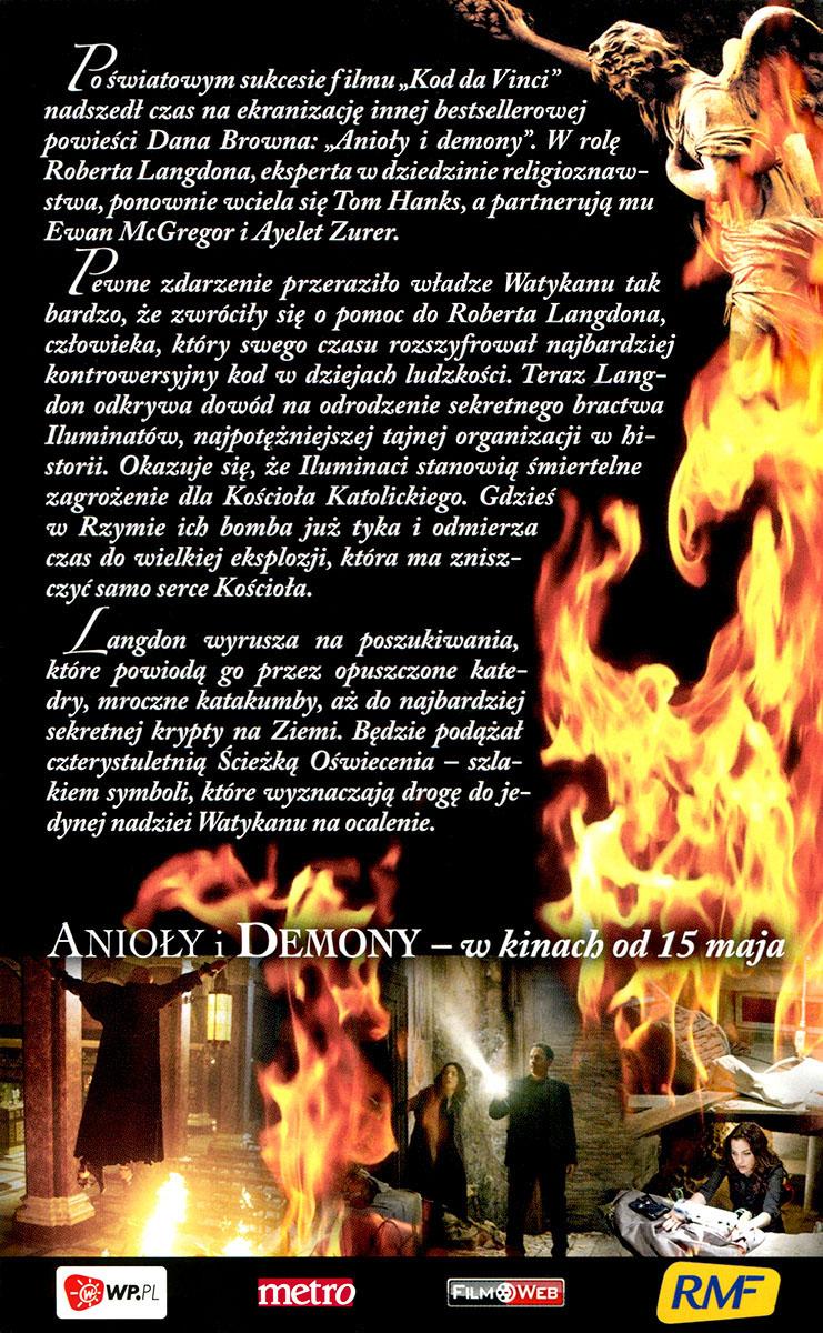 Ulotka filmu 'Anioły i Demony (tył)'