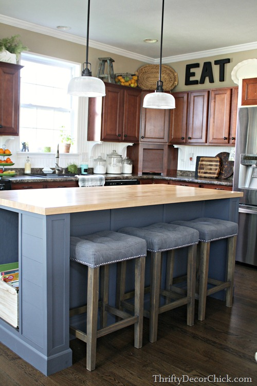 butcher block on large island