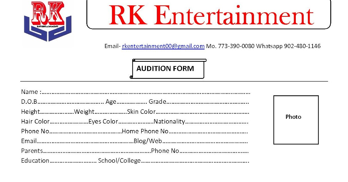 Audition For Educational Rajasthani Movie - World of Bollywood - audition form