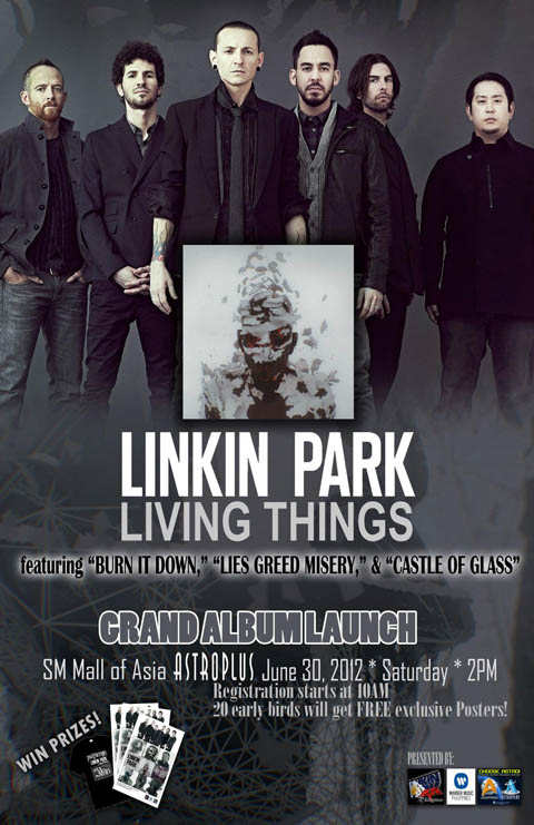 "Linkin Park Living Things ""Burn it Down, Lies Greed Misery, and Castle of  Glass"" Grand Launch"