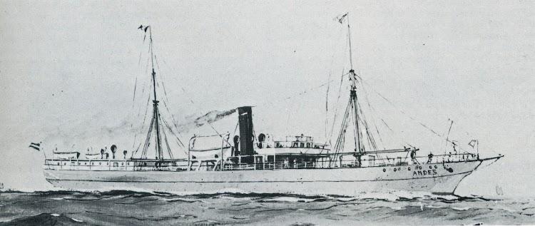 El vapor ANDES. Acuarela de autor desconocido. Del libro Die Schiffe der Hamburg-Amerika Linie. 1847-1906.tif