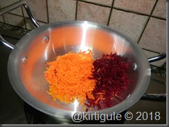 grated carrot and beetroot