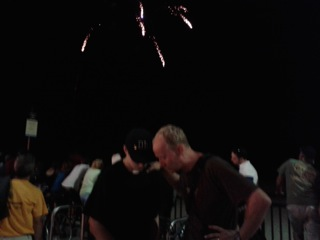Chris got to pray with JT as the fireworks went off!