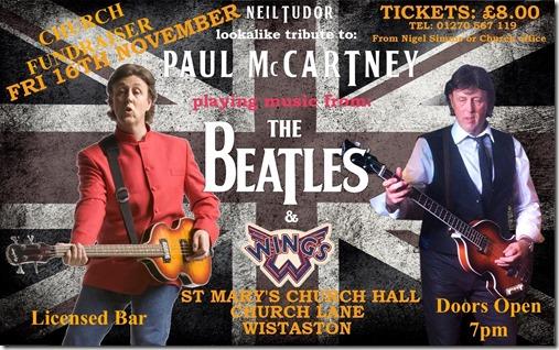 Paul McCartney Tribute Act - Neil Tudor in concert - Wistaston - Fri 16-11-18