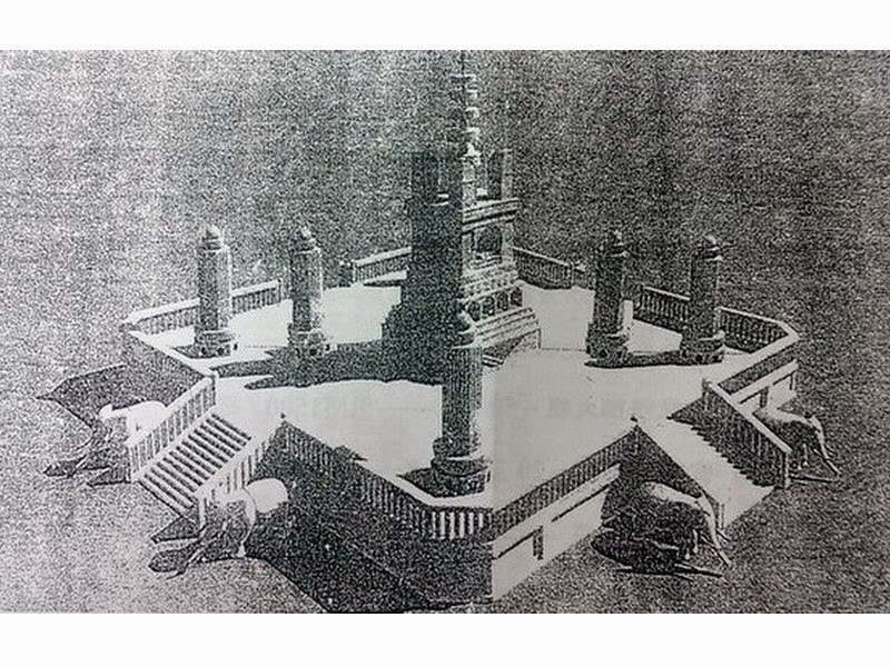 an artist's impression of the stupa in Balik Pulau, Penang