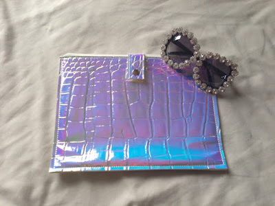 Chicwish Holographic Snakeskin Clutch + Crystal Sunglasses
