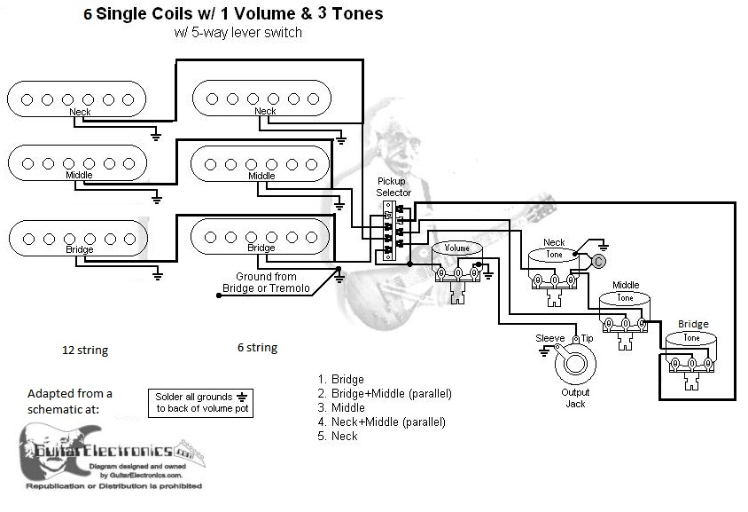 Double Neck Guitar Wiring Schematic And Diagram, Double