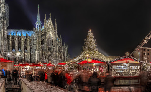 The Christmas market, or Weihnachtsmarkt, in Cologne, Germany.
