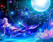 Moon Dolphins Mermaid