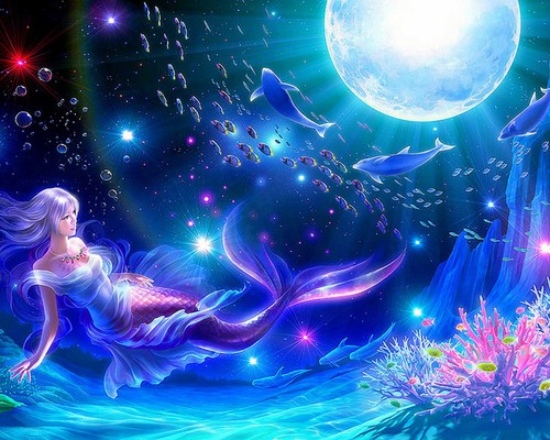Moon Dolphins Mermaid, Mermaids